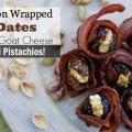 Bacon dates avec fromage de chèvre et les pistaches enveloppé